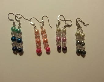 Pearl and Crystal Ombre Drop Earrings