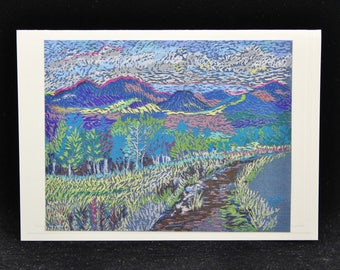 Mountain Path Art Note Card, Trail at Snow Bowl, Arizona, from Pastel by Karlene Voepel