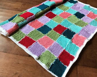 Baby blanket knitted. New born gift.