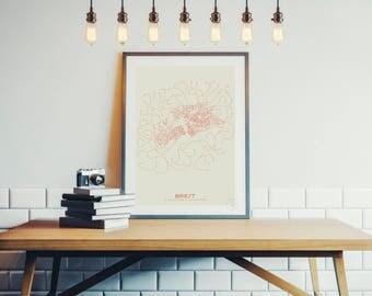 Poster Design Brest - Plan minimalist 30x40cm