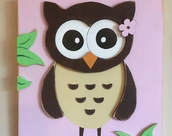 Pink Owl Sign, Wood Sign, Distressed, Weathered, Baby's Room, Baby Girl, New Born, Nursery, Pink, Owl, 3D, Baby Shower