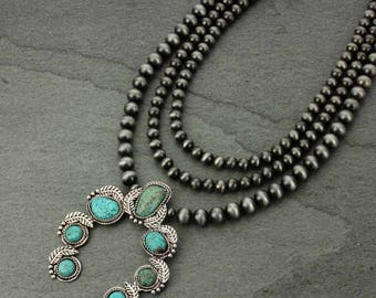 Squash Blossom Naja Natural Turquoise Necklace-N#731527007