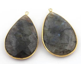 50% off 2 Pcs 24K Gold Plated Flashy Labradorite Gemstone Faceted Pear Drop Shape Single Bail Pendant 48mmx30mm-51mmx30mm PC024