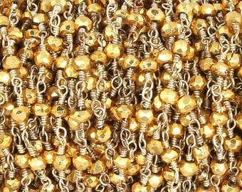 50% off 5 Feet Beautiful Gold Pyrite Beaded Chain 3mm Rosary Chain, Gold Pyrite Beaded Silver Wire Wrapped Chain CH116