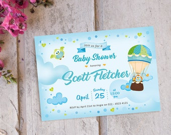 50 % OFF | Hot Balloon Baby Shower Invitation printable