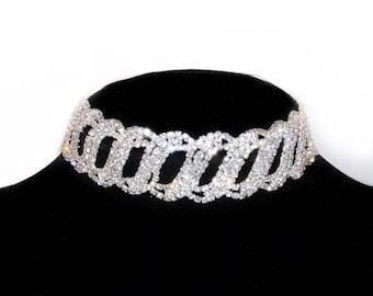 Rhinestone choker, crystal choker, diamond choker, jewel necklace, rhinestone crystal accessory, costume jewelry, statement piece