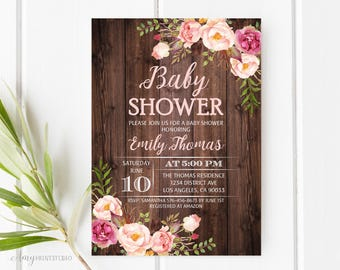 Baby Shower Invitation, Floral Baby Shower Invite, Wood Baby Shower Invite, PERSONALIZED, Digital file, #A19