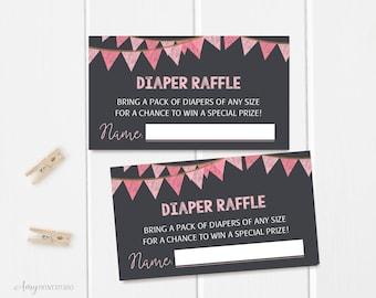 Diaper Raffle Tickets, Diaper Raffle Sign, Pink Baby Shower Diaper Raffle Tickets , Diaper Raffle Cards, Digital file, #A24