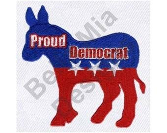 Donkey - Machine Embroidery Design, Democratic Party, Proud Democrat