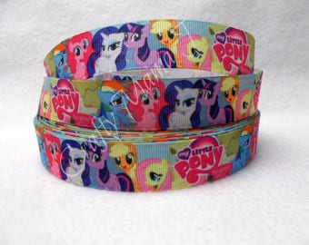 "LAST CUT of My Little Pony 7/8"" Grosgrain Ribbon 10 yards. Friendship Is Magic Hasbro Toy Twilight Sparkle, Rainbow Dash. Pinkie"