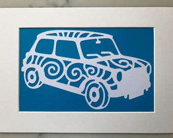 Retro Mini car paper cut art - Wall art - A4 mounted