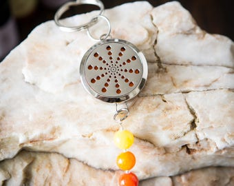 Essential Oil Diffuser Aromatherapy - Locket and Keychain - Starburst Dots Design- Stainless Steel - Non tarnish - Customizable Accent Beads