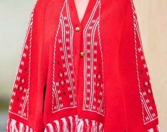 Vintage 70s 80s Red Poncho Cape Jacket Small S Medium M
