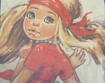 Vintage mods F idylle big eye girls 1960 sixtees print hippie gypsy girl vintage home decor wall