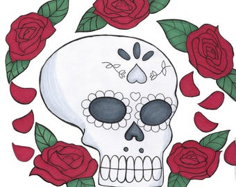 Skull and Roses Print 9x12