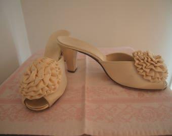 Vintage 1960s or 70s Daniel Green Ivory Satin Heels • Mules • Boudoir Slippers • Wedding Shoes • 8 AA (Narrow)