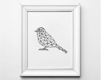 Modern Wall Art, Bird Illustration, Origami Bird, Geometric Bird Art Print, Printable Bird Poster, Bird Nursery Art, Black and White Art