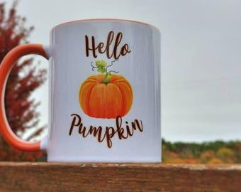 Hello Pumpkin Mug   Pumpkin Mug   Fall Mug   Fall Coffee Cup   Hello Pumpkin Coffee Cup