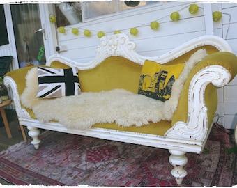 Vintage victorian mustard yellow sofa chaise longue shabby chic