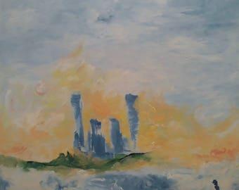 "31x31 on canvas Original Acrylic ""Morning Mist""- Painting by Omri Hai Art."