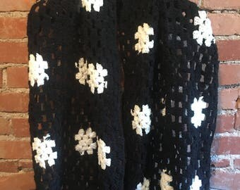 1970's Black & White Crocheted Granny Square Shawl Scarf Wrap