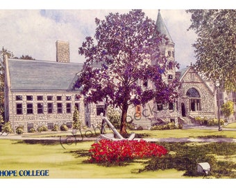Hope College LIMITED EDITION Pen and Ink and Watercolor Art Print Illustration - Graduation Gift, university