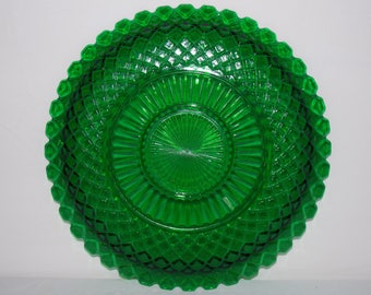 """Waterford Forest Green by Anchor Hocking Sandwich Plate 14"""""""