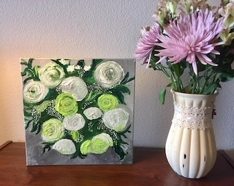 Green bouquest of roses, original acrylic painting, 12x12inches on gallery-wrapped canvas