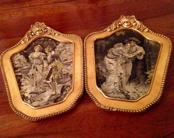 A Pair of Victorian Embroidered Tapestry Pictures in Deco gilded Frames dated 1929