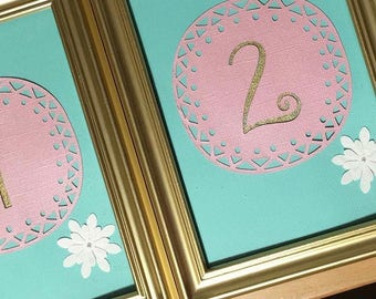 SET OF 10- Framed table numbers