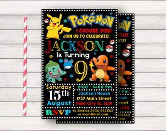Pokemon Invitation, Pokemon Birthday, Pokemon Birthday Invitation, Pokemon Birthday Party, Pokemon Party, Pokemon Party Invitations