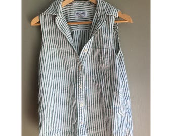 Vintage striped sleeveless button up