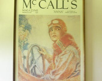 """Vintage (70's) McCall's Magazine Poster """"Anna - A story of peril and love, March 1921"""" - Framed, Litho in the US."""