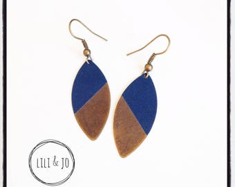 Two-tone collection: Shuttle gray-blue and bronze earrings