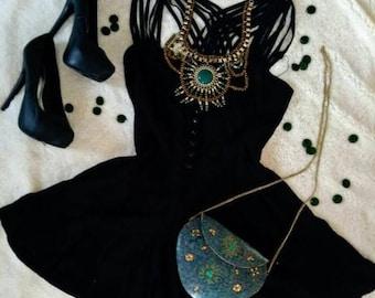 metal and stone handbag, bohemian style, fashion