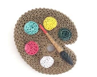 cardboard artist palette brooch