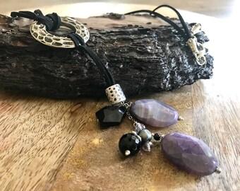 Natural Stone Pendant Necklace, Unique Purple Handmade Necklace