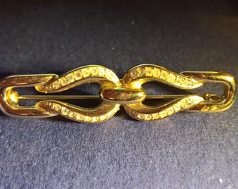 Christian Dior Signed Bar Brooch in gold tone and diamante Vintage 1980s