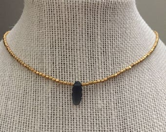 Dainty Gold Necklace with Navy Center Bead