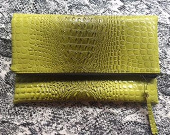 Foldover Lime Green Faux Alligator Zippered Clutch