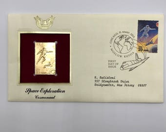Cosmonaut | US Space Shuttle | Space Exploration | Gold Replica | Vintage 1992 Space Accomplishments First Day of Issue Envelope w/ 1 Stamp