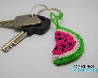 Crochet watermelon fruit keychain