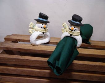 Snowman Napkin Rings set of 2