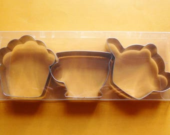 Teapot Teacup Muffin Cookie Cutter Teatime Fondant Biscuit Pastry Stainless Steel Baking mold Set