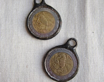 Hand Soldered 5 Dollar Mexican Coin Pendant
