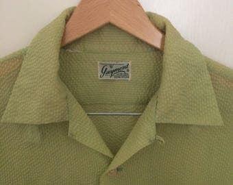 1950s Mens Guymont Nylon Seersucker Textured Lime Green S/S Shirt