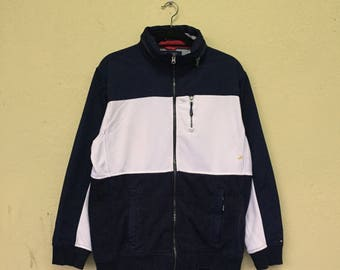 Rare!!TOMMY HILFIGER Embroidery Small Logo Full Zipper Hoodie Jacket Tommy Hilfilger Clothing Size Large