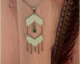 """Rock & Wood"" collection necklace Green"