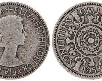 1953 Elizabeth II two shillings coin of Great Britain
