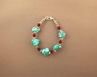 Egyptian Turquoise and Red Swarovski Crystal Bracelet